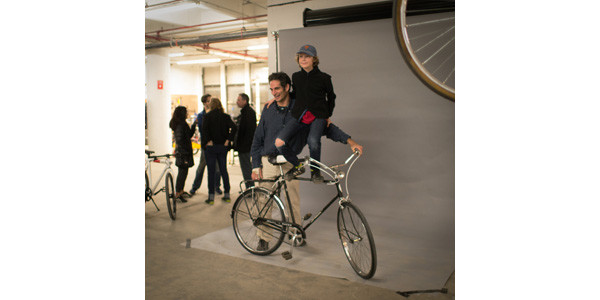 Nathan and Lion Brauer getting their bike portrait taken